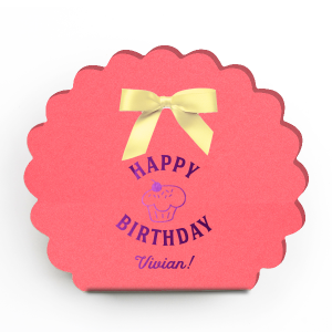 ForYourParty's elegant Coral Truffle Box with Shiny Amethyst Foil has a Cupcake graphic and is good for use in Food, Kid Birthday, Birthday, Dessert themed parties and will impress guests like no other. Make this party unforgettable.