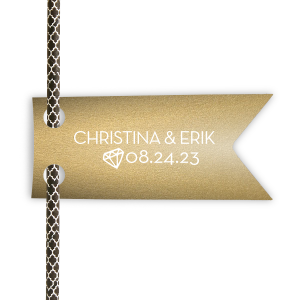 Custom Stardream Champagne Wave Straw Tag with Matte White Foil has a Diamond graphic and is good for use in Wedding, Bridal Shower themed parties and will impress guests like no other. Make this party unforgettable.