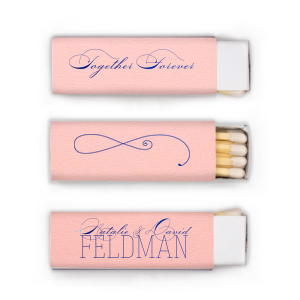 Our custom Poptone Ballet Pink Cigar Matchbox with Shiny Royal Blue Foil has a Fancy Flourish graphic and is sure to make your guests swoon. Personalize your party's theme today.