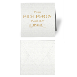 Our personalized Linen White Gift Enclosure with Satin Gold Foil has a Banner graphic and is good for use at a variety or parties and couldn't be more perfect for year-round gift giving. It's time to show off your impeccable taste.