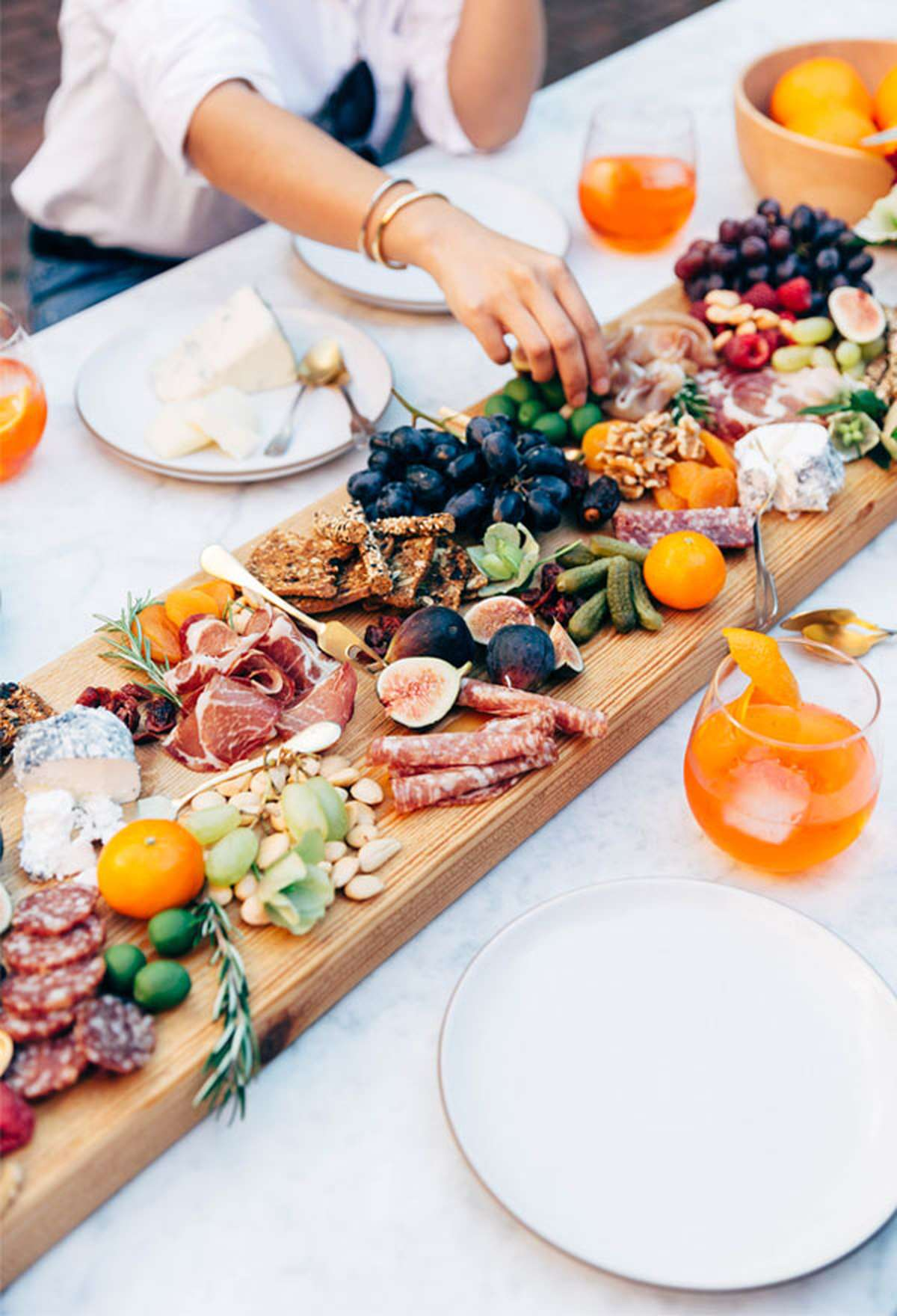 charcuterie tray as a table centerpiece