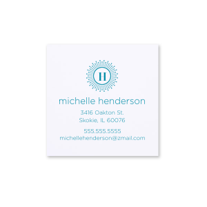 Custom Natural Frost White Square Business/Calling Card with Satin Teal / Peacock Foil has a sunburst frame 2 graphic and is good for use to brighten up your business cards and will add that special attention to detail that cannot be overlooked.