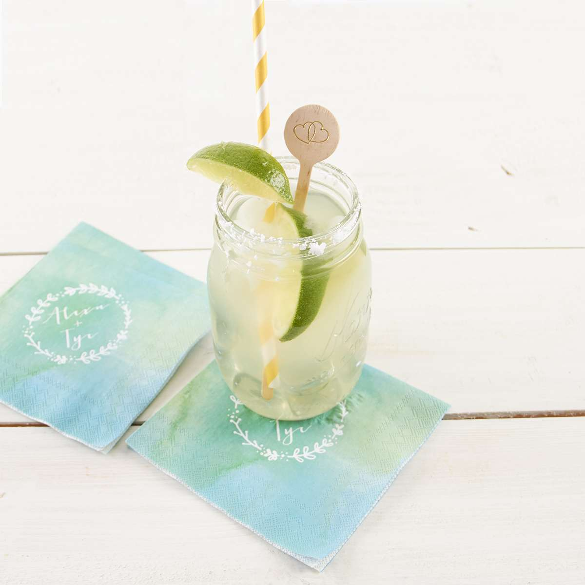 fresh margaritas with personalized watercolor napkins