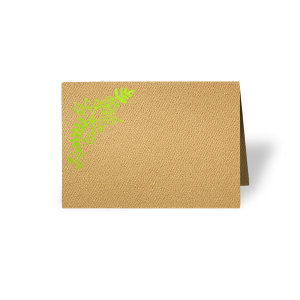 ForYourParty's elegant Natural Kraft/Latte Classic Place Card with Shiny Kiwi / Lime Foil has a Rustic Floral Accent 2 graphic and is good for use in Accents, Wedding, Anniversary themed parties and will add that special attention to detail that cannot be overlooked.