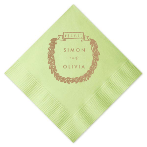 Personalize our Banner Wreath graphic on this trendy Honeydew  napkin with the bride and groom's names for an earthy engagement party, rehearsal dinner or wedding reception bar addition.