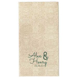 Our custom White Guest Towel with Shiny Copper Foil has a Accent Ampersand graphic and is good for use in Wedding, Engagement and Bridal Shower themed parties and are a must-have for your next event—whatever the celebration!