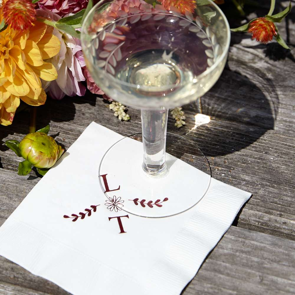 personalized 2 initial branch cocktail napkins
