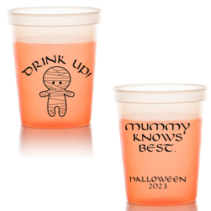 Custom Orange 16 oz Stadium Cup with Matte White Ink Ink Color has a Mummy graphic and is good for use in Halloween themed parties and will add that special attention to detail that cannot be overlooked.
