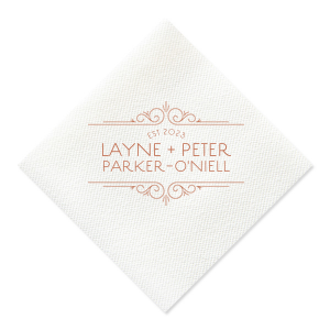 ForYourParty's personalized Black Cocktail Napkin with Satin Copper Penny Foil Color has a Scroll Frame and is good for use in Bridal themed parties and will make your guests swoon. Personalize your party's bar today.