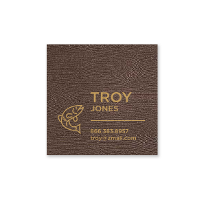 The ever-popular Brown Wood Business/Calling Card with Satin 18 Kt. Gold Foil has a Bass graphic and is good for use to add that personalized touch to your first impression.