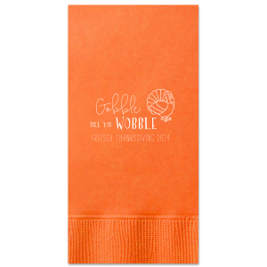 Custom Tangerine Cocktail Napkin with Matte White Foil Color has a Live Turkey graphic and is good for use in Holiday, Thanksgiving themed parties and will add that special attention to detail that cannot be overlooked.