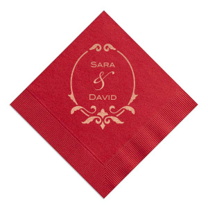 Our custom Cranberry Cocktail Napkin with Shiny Rose Gold Foil Color has a Fleur de Frame graphic and is good for use in Frames themed parties and will give your party the personalized touch every host desires.