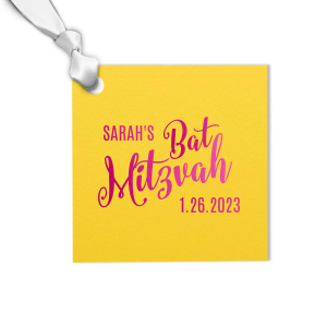 ForYourParty's elegant Poptone Yellow Luggage Gift Tag with Shiny Fuchsia Foil Color will give your Mitzvah party the personalized touch every host desires.