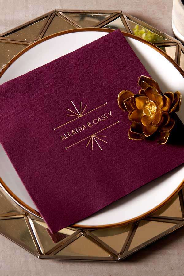 Personalized linen like dinner napkin.