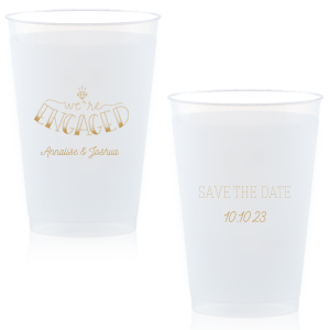Our personalized Gold Ink 16 oz Frost Flex Cup with Gold Ink Cup Ink Colors has a Engaged 2 graphic and is good for use in Engagement, Save the Date, Wedding themed parties and will make your guests swoon. Personalize your party's theme today.