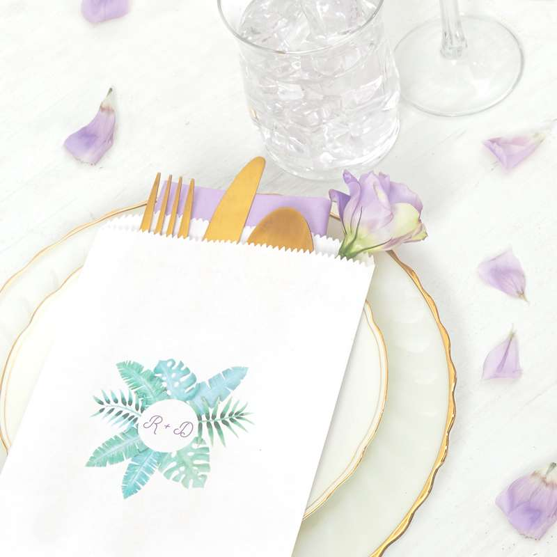 personalized wedding favor bag for wedding tablescape