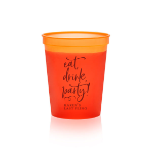 ForYourParty's chic Maroon 16 oz Stadium Cup with Matte Pastel Pink Ink Cup Ink Colors will make your guests swoon. Personalize your party's theme today.
