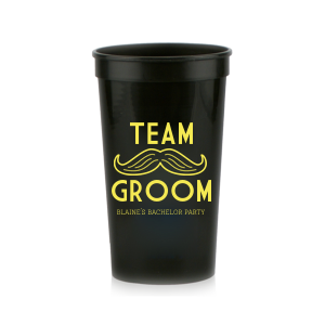 ForYourParty's personalized Black 16 oz Stadium Cup with Matte Mimosa Yellow Ink Cup Ink Colors has a Mustache 2 Outline graphic and is good for use in Bachelor Parties, Father's Day, and Birthday themed parties and will impress guests like no other. Make this party unforgettable.