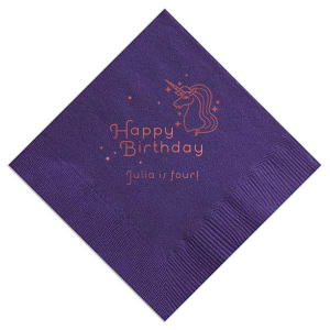 Give her a birthday to dream about! Make everything about her with personalized napkins. Add her name and age to this Amethyst napkin with Unicorn clip art for a truly magical detail.