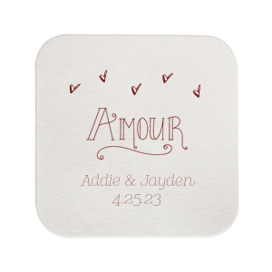 "Amour - Merlot - Square Coasters - Personalized - Set of 75 - 4 x 4"""" by ForYourParty.com"