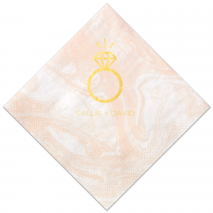 The ever-popular Marble Blush Cocktail Napkin with Shiny 18 Kt Gold Foil has a Diamond Ring graphic and is good for use in Wedding, Bridal Shower themed parties and will make your guests swoon. Personalize your party's theme today.