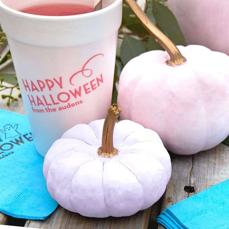 pastel pumpkin DIY with custom designed party accessories