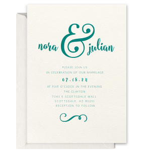 Custom Lettra Pearl White 110lb Invitation with Black Ink Letterpress Inks has a Fancy Flourish 6 graphic and is good for use in Bold Wedding themed parties and are a must-have for your next event—whatever the celebration!