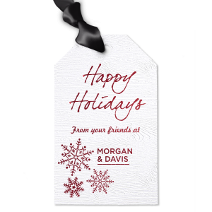 ForYourParty's personalized White Wood Wine Hang Tag with Shiny Merlot Foil has a Snowflake Cluster graphic and is good for use in Delphine themed parties and can't be beat. Showcase your style in every detail of your party's theme!