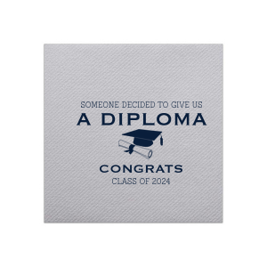 Our personalized Stone Gray Linen Like Cocktail Napkin with Matte Navy Foil has a Cap and Scroll graphic and is good for use in Graduation themed parties and can be customized to complement every last detail of your party.