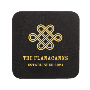 Personalized Black Leather Leather Square Coaster with Shiny 18 Kt Gold Foil has a Love Knot graphic and is good for use in Wedding, Symbols themed parties and can be customized to complement every last detail of your party.