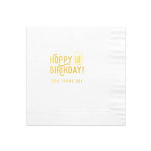 The ever-popular White Cocktail Napkin with Shiny 18 Kt Gold Foil has a Brew graphic and is good for use in Drinks themed parties and can be personalized to match your party's exact theme and tempo.