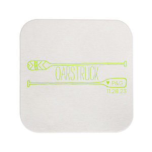 Our beautiful custom Eggshell Square Coaster with Shiny Kiwi / Lime Foil has a Oar Frame graphic and is good for use in Adventure, Outdoor Wedding themed parties and will look fabulous with your unique touch. Your guests will agree!