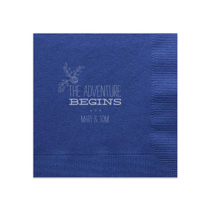 Personalized Light Navy Cocktail Napkin with Matte Dove Grey Foil Color has a Rose Accent 2 graphic and is good for use in Accents themed parties and can be personalized to match your party's exact theme and tempo.