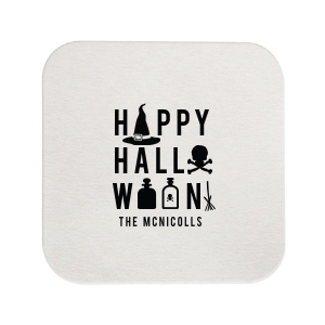 Our personalized Silver with Black back Deco Coaster with Matte Black Foil has a Witch's Hat graphic and is good for use in Halloween themed parties and can't be beat. Showcase your style in every detail of your party's theme!