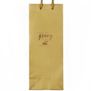 The ever-popular Kraft Wine Gift Bag with Shiny Merlot Foil Color has a Plated Turkey graphic and is good for use in Food, Thanksgiving themed parties and will look fabulous with your unique touch. Your guests will agree!