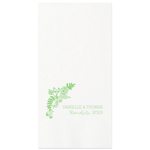 ForYourParty's chic Kiwi Cocktail Napkin with Matte White Foil has a Rustic Floral Accent graphic and is good for use in Floral themed parties and are a must-have for your next event—whatever the celebration!