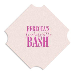 The ever-popular Eggshell Square Coaster with Satin Fuchsia Foil Color can be personalized to match your party's exact theme and tempo.