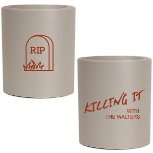 ForYourParty's personalized Khaki Flat Can Cooler with Matte Brick Ink Cup Ink Colors has a RIP graphic and is good for use in Halloween themed parties and will add that special attention to detail that cannot be overlooked.