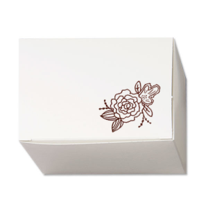Custom Shiny Merlot Cake Box with Shiny Merlot Foil has a Peony Accent graphic and is good for use in Wedding and Floral themed parties and will give your party the personalized touch every host desires.