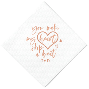 The ever-popular Lipstick Red Cocktail Napkin with Shiny Rose Gold Foil has a Heart Outline graphic and is good for use in Wedding, Hearts themed parties and will look fabulous with your unique touch. Your guests will agree!