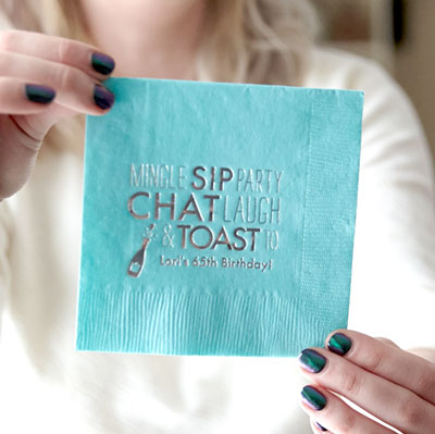 ForYourParty's personalized Black Cocktail Napkin with Matte White Foil has a Bubbly graphic and is good for use in Drinks, Wedding and Birthday themed parties and couldn't be more perfect. It's time to show off your impeccable taste.