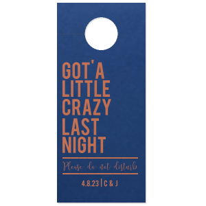 Custom Natural Royal/Lt. Navy Door Hanger with Satin Copper Penny Foil can be customized to complement every last detail of your party.