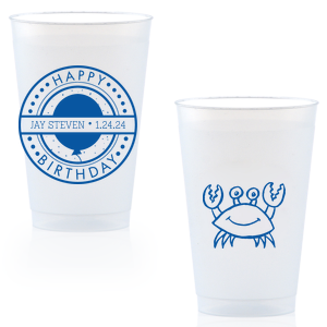 Our personalized Blue 16oz Frost Flex Color Cup with Matte White Ink Screen Print has a Birthday Badge graphic and a Crab graphic and is good for use in Animals, Beach/Nautical themed parties and will impress guests like no other. Make this party unforgettable.