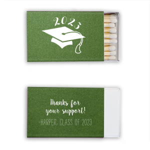 Our custom Stardream Leaf Triangle Matchbox with Matte White Foil Color has a Cap graphic and is good for use in Graduation themed parties and will give your party the personalized touch every host desires.