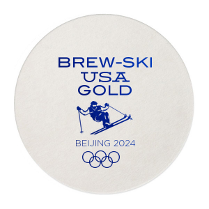 Personalized Eggshell Square Coaster with Shiny Convertible Red Foil has a Mogul Skiing graphic and is good for use in Olympic Sports themed parties and will give your party the personalized touch every host desires.