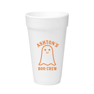 Our custom Matte Tangerine Ink 12 oz Styrofoam Cup with Matte Tangerine Ink Cup Ink Colors has a Baby Ghost graphic and is good for use in Halloween themed parties and are a must-have for your next event—whatever the celebration!