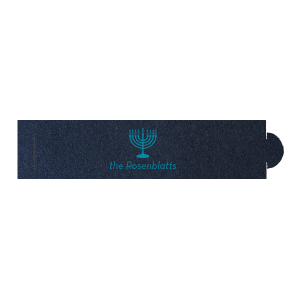 Our custom Stardream Navy Napkin Ring with Satin Teal / Peacock Foil has a Menorah graphic and is good for use in Jewish, Holiday and Hanukkah themed parties and will make your guests swoon. Personalize your party's theme today.