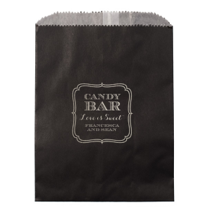 Our personalized Ivory Goodie Bag with Matte Royal Blue Foil has a Ornate Frame 2 graphic and is good for use at your next Candy Bar, whether it is a Wedding, Birthday or Bar/Bat Mitzvah. Your guests will agree!
