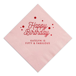 Make her birthday special with customized napkins! Choose this Fuchsia color or a color to match your theme and add the birthday girl's name and age for a personal touch. Our Confetti clip art and script font is the perfect detail on any bar or dessert table.