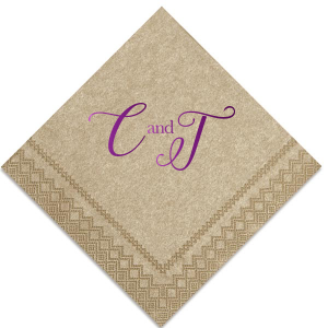 ForYourParty's personalized Marble Taupe Cocktail Napkin with Shiny Amethyst Foil couldn't be more perfect. It's time to show off your impeccable taste.